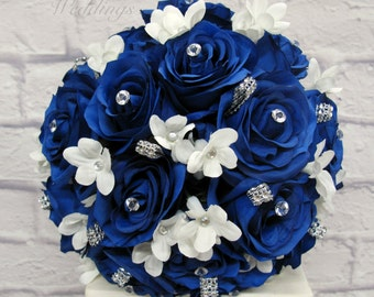 Wedding Bouquet, Royal blue rose brides bouquet, Bling bouquet, Silk bridal flowers