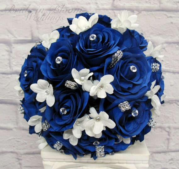 Wedding Bouquet Royal Blue Rose Brides Bouquet Silk Bridal Flowers