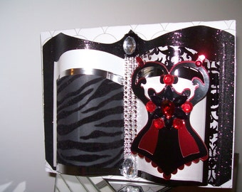 You Mean So Much - Beautifully Adorned Corset Greeting Card - 3D Embellished and Crafted by Hand