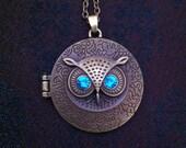 Antiqued brass owl locket
