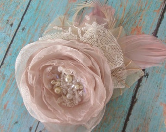 Wedding hair clip champagne bridal hair clip chiffon lace and feathers.  fabric flower facinator