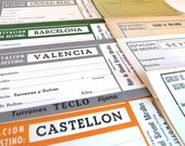 9 Antique Shipping Labels from Spain - Vintage shipping blank forms - Old rescued paper ephemera from Spain