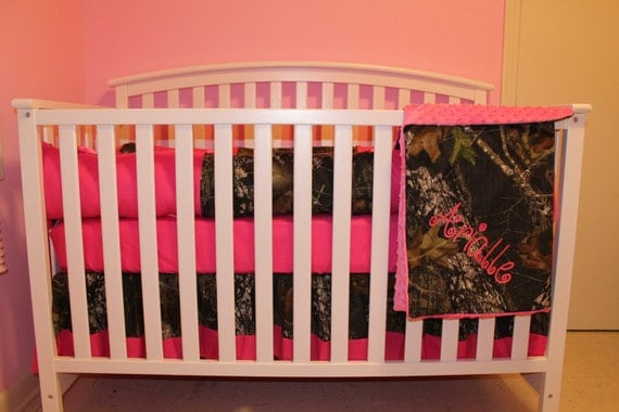 7pc Camo Mossy Oak Fabric Pink Crib Bedding Nursery Set: 4pc Camo Mossy Oak Fabric & Pink Crib Bedding Nursery Set