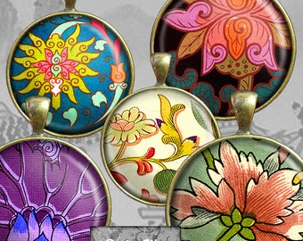 Digital Printable  Art Circles, 1 Inch Round Printable Images Digital Chinese Ornament Pendant Earring Scrapbooking Embellishments CS 313