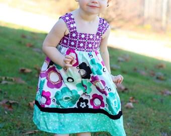 Girls Reverse Knot Dress Radical Blooms Collection Toddler Infant Girls Black Velvet Ribbon