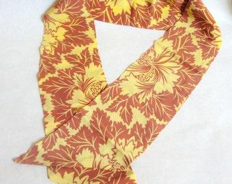 1930s Silk Art Deco flora print neck tie in yellow ochre / 30s printed jabbot scarf