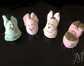 Set of 4 Feet Friends - Egg Bunnies - Easter Bunny - Egg Puppet - Doll Bunny - Egg Cosy