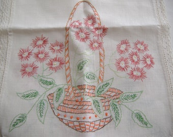 Embroidered Table Runner, Dresser Scarf