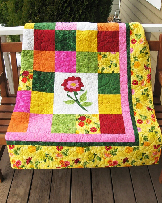 Handmade Twin Coverlet/Oversize Lap Bright Yellow and Pink Quilt