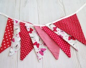 Christmas decor, christmas decoration, girl nursery decoration , red fabric bunting banner, birthday signs