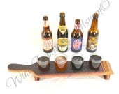"BEER FLIGHT - ""Hatala"" - 4 Hole Wine Barrel Stave Glass holder - 100% recycled"