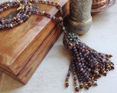 Ethnic Turkish Tassel Necklace Brown Gray Jade Gemstone Statement Gypsy Hippie Bohemian Artisan - One Of A Kind