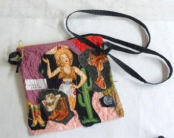 Crossbody Purse  Pocketbook with Long Strap  Southwest Applique Shoulder Bag  OOAK Design Purse Cowgirl Crossbody Purse
