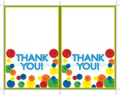 Digital Printable Bouncy Ball Birthday Thank You Cards INSTANT DOWNLOAD