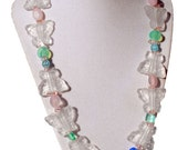Cotton candy collection. Glass butterfly necklace, blue, green, clear and pink. Glass beads,