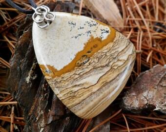 Jasper Pendant. Picture Jasper And Sterling Silver Necklace. Handmade. Picture Jasper Pendat. Natural Stone.