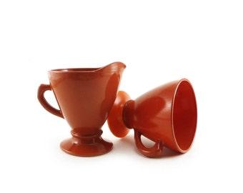 Hazel Atlas rust ovide sugar bowl and creamer, plantonite, milk glass
