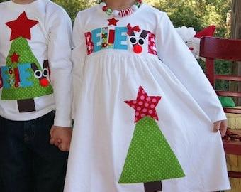Christmas Tree Dress, Christmas Dress Toddler Girls, Green Tree Dress, Christmas Name Dress