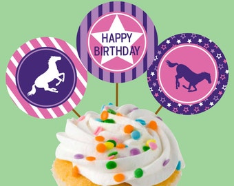 Instant Download Horse Party Cupcake Toppers or Craft Circles