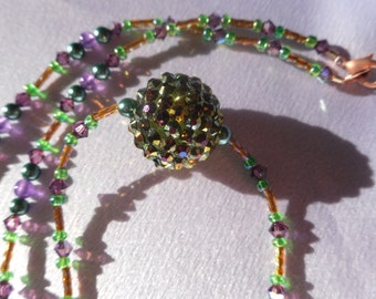 Purple, Green and Gold Beaded Necklace with Bicone Crystals and Crystal Encrusted Accent Bead