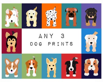 Dog Wall Art. ANY 3 Dog Prints for baby child nursery art. Custom modern puppy pictures from paintings for kids room decor by WallFry