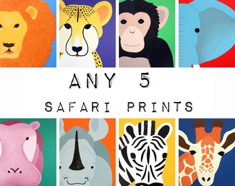 Safari nursery prints for baby & child. SET OF Any 5 modern prints of jungle zoo animals theme for kids rooms and playrooms