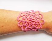 Fucsia Lace Bracelet, Tatted Bracelet, Lace Jewelry,  Fucsia Lace Jewelry, Tatting Jewelry, Frivolite Bijou