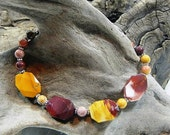 "Multicolored mookaite jasper bracelet 9"" colorful red purple yellow gold semiprecious stone jewelry packaged in a colorful gift bag 11020"