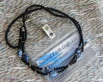 """Black onyx and blue sodalite identity card holder 32"""" long lanyard semiprecious stone jewelry packaged in a gift bag 1407"""