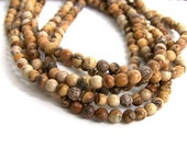 4mm PICTURE JASPER beads, round natural gemstone bead, full strand (497S)