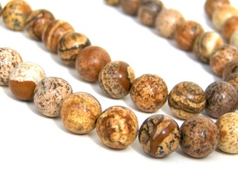 Picture Jasper beads, 10mm round natural gemstone, Full or half strands  (612S)