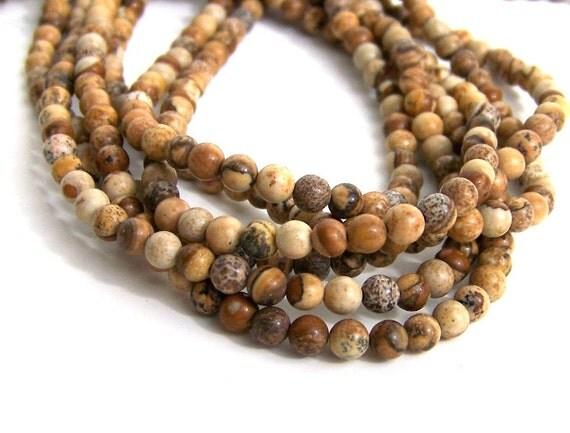 4mm PICTURE JASPER beads, round natural gemstone bead, full strand (497S)