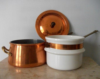 Vintage Copper and Ceramic Pot and Warmer Three in One