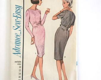 60s Advance 3338 Dress or Sheath with Midriff, Long or Short Sleeves, Below Knee Length Size 12 Bust 32