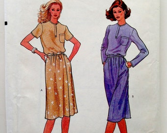 80s Vogue 7929 Dress Loose Fitting Top and Wrap Skirt with Pockets Size 12 Bust 34