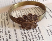 Hinge Bracelet With Art Nouveau Leaf OOAK Handmade Brass
