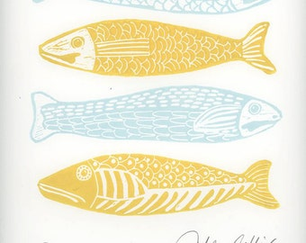linocut print, Four Fish, fish, blue and white, yellow, gift for him, fishing ,beach house, stripes, printmaking ,home interior, blue, white