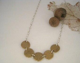 Bronze Coin and Sterling Silver Chain Necklace