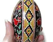 Ukrainian egg, pysanka, red bird, bird, lace, egg, goose egg, decoration