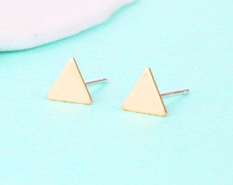 Pyramid Triangle Earrings - Stud Earrings - Gold Triangle Earrings - Triangle Jewelry