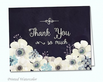Wedding Thank You Folded Card - A2 - Watercolor Anemone Flowers in Midnight Blue - Printed