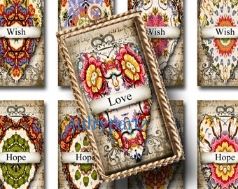 WARSAW HEARTs, 1x2 images, Printable Digital Images, Cards, Gift Tags, domino, Magnets