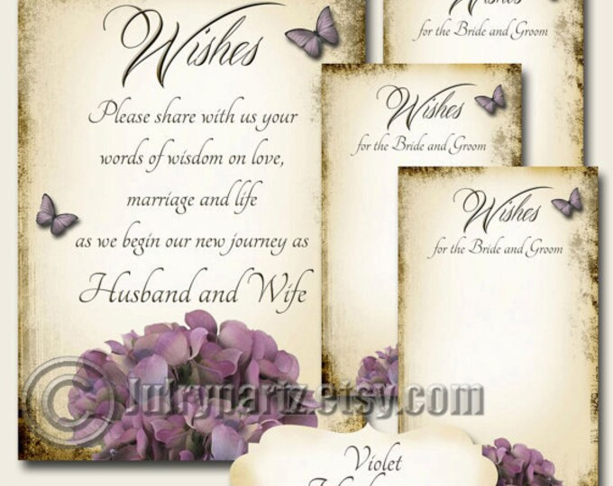 VIOLET HYDRANGEA Set of Wedding Wish Sign and Tags,Wish Tree Cards,Printable,DIY Weddings, Bridal Shower, Wish tags, Wedding Wish Tags