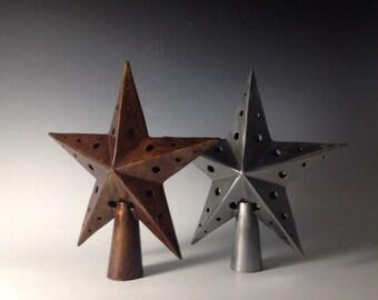 Steel tree topper, star christmas tree topper