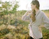 Classic kimono style knitted jacket, natural kidmohair silk material