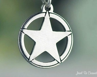 Small Sterling Silver Texas Star Charm Lone Star State Solid .925