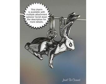 Jackalope Sterling Silver Charm Jackrabbit Rabbit with Antlers .925