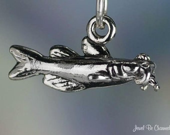 Sterling Silver Catfish Charm Fish for Fishing Seafood 3D Solid .925