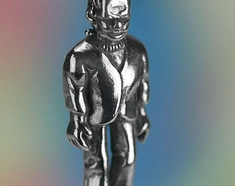 Sterling Silver Frankenstein Charm Monster Halloween Theme Solid .925