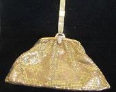 Whiting & Davis Mesh Purse Gold Rhinestone Vintage Wristlet Purse Wedding Purse Bridal EXCELLENT CONDITION